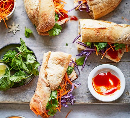 Vegan banh mi sandwiches on a serving platter