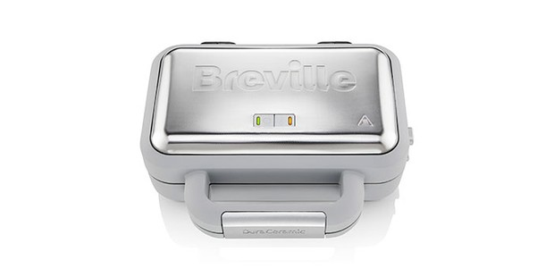 Breville DuraCeramic deep fill waffle maker on a white background