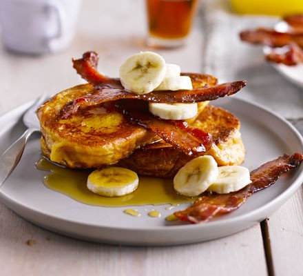 Brioche French toast with bacon, banana & maple syrup