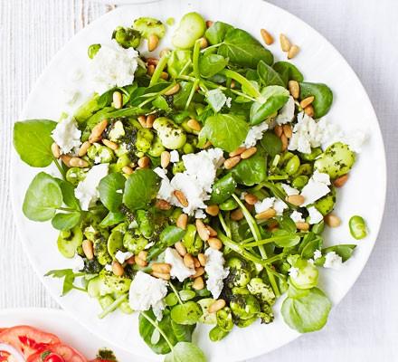 Broad bean, feta & watercress salad