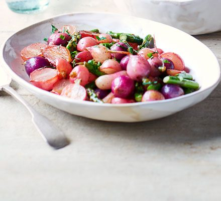 Brown-butter basted radishes & asparagus_image