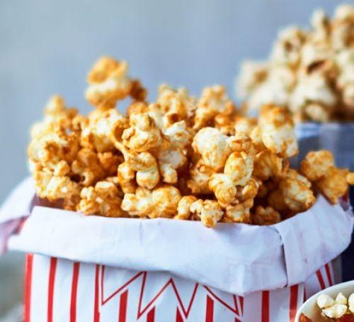 Popcorn in a stripy bag