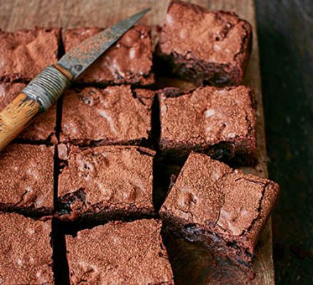 Bourbon, black cherry & bacon brownies cut into squares