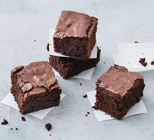 Vegan brownies cut into squares