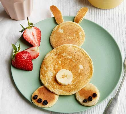 Healthy Easter bunny pancakes served on a plate