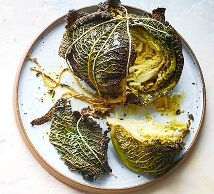Butter-basted BBQ cabbage served on a plate