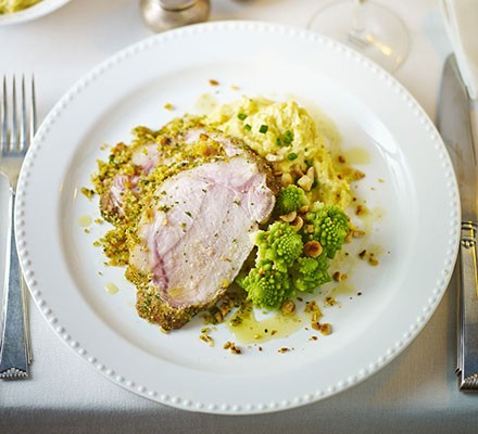 Butter-basted pork loin with stuffing crust & cheesy polenta