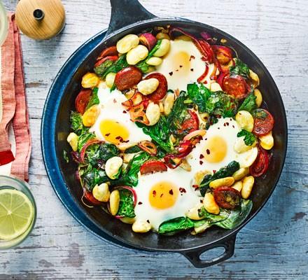 Butter bean, chorizo & spinach baked eggs 2016