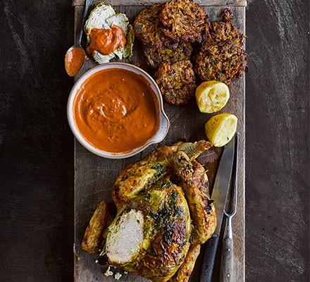 One-pan roast butter chicken on a serving platter
