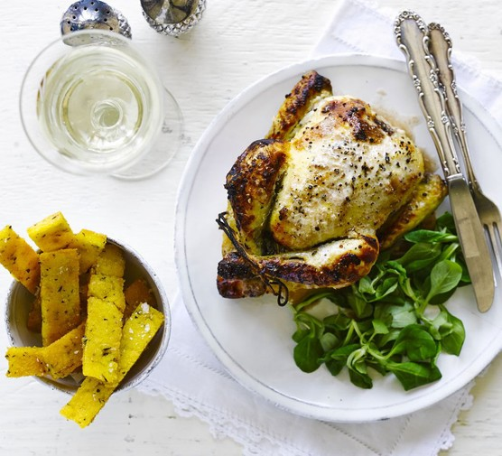 Buttermilk roasted poussin with rosemary polenta chips