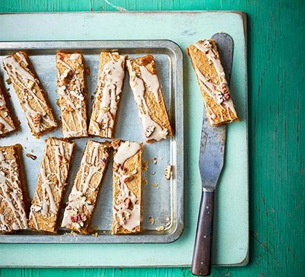 Butternut Bakewell bars on a baking tray