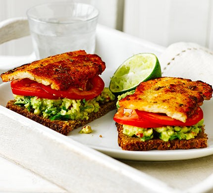 Open Rye Sandwich With Halloumi Avocado Recipe Bbc Good Food