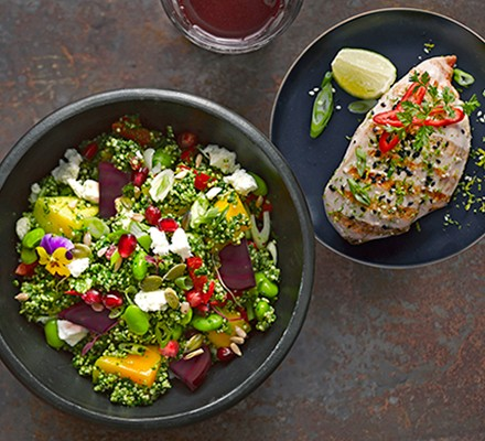 Cajun blackened chicken with supergreen quinoa