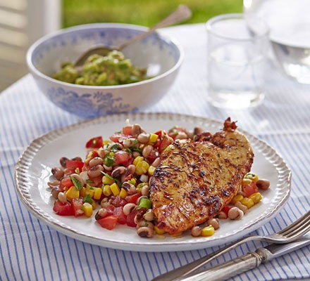 Cajun grilled chicken with lime black-eyed bean salad & guacamole
