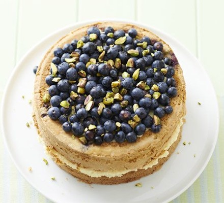 Blueberry & pistachio cake with cardamom cream