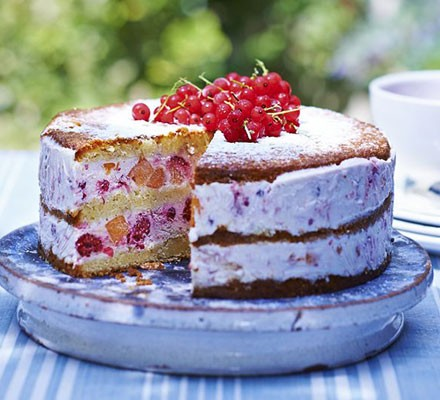 Peach & red berry ice cream cake