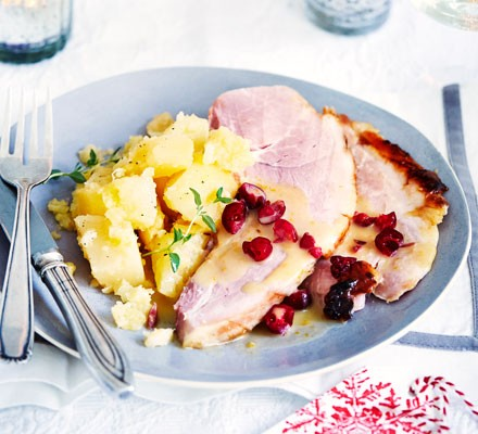 Candied roast ham with cranberry & star anise sauce