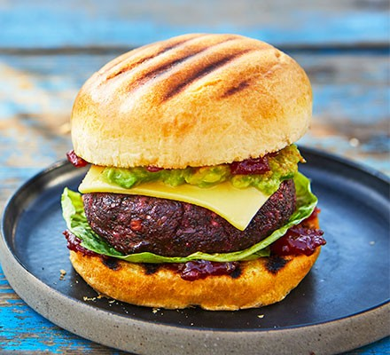 Cheat's tomato chilli jam on a vegan burger
