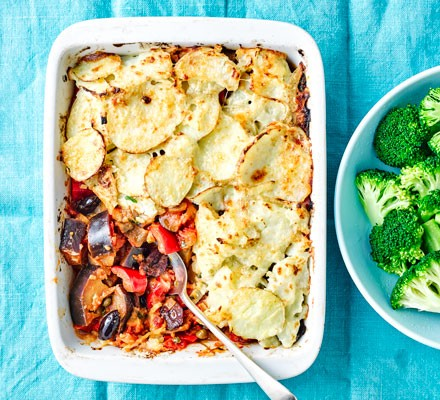 A vegetarian caponata bake topped with sliced potatoes