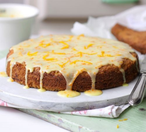 Courgette recipes: carrot, courgette & orange cake served on a platter
