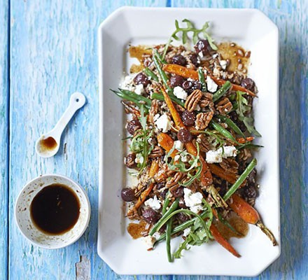Roasted grape, carrot & wild rice salad with balsamic maple dressing