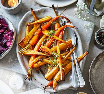 Thyme roasted vegetables in a serving dish