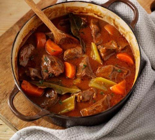 Beef & vegetable casserole in a casserole dish