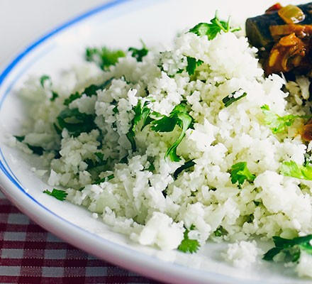 A plate filled with herby cauliflower rice