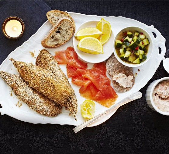 Celebration fish platter with spiced cucumber salad