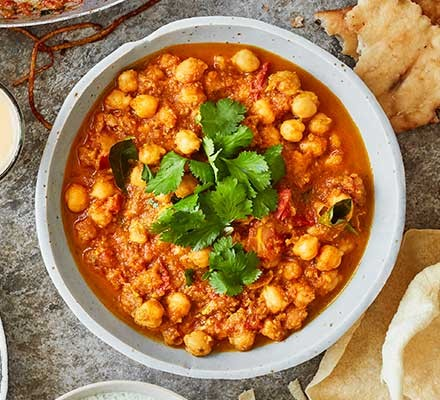 A bowl filled with chana masala - chickpea curry