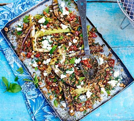 Charred baby aubergine & toasted quinoa salad