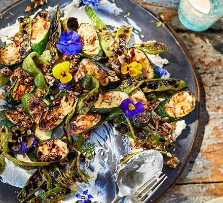 A plate serving charred courgettes, runner beans & ricotta