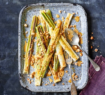 Charred leeks with anchovy dressing