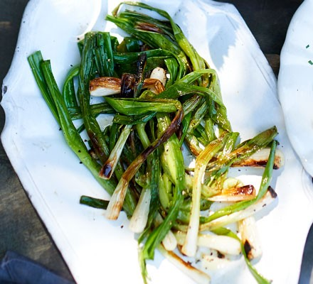 Charred spring onions