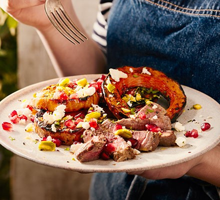 Charred squash & spiced lamb on a plate