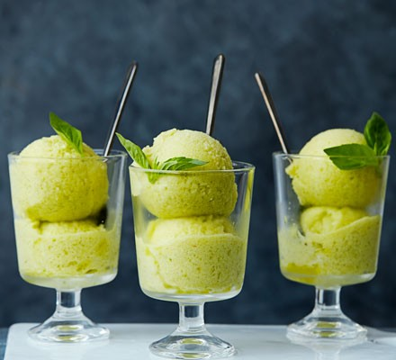 Cheat's pineapple, Thai basil & ginger sorbet