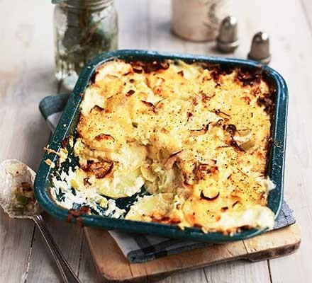 A dish serving leek and potato pie