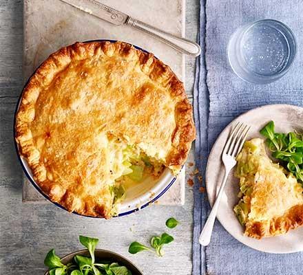 Cheesy leek & potato pie served in a pie dish