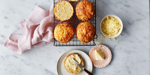 Cheese scones served with butter