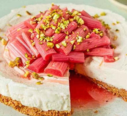 Rhubarb & gingernut cheesecake on a plate