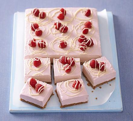 Frozen raspberry & white choc cheesecake