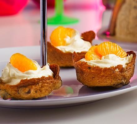 Mini choc-orange cheesecake tarts