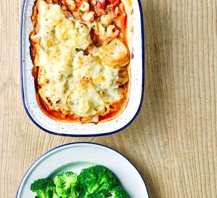 Seafood bake topped with potatoes and cheese