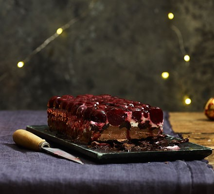 Cherry and chocolate trifle on plate