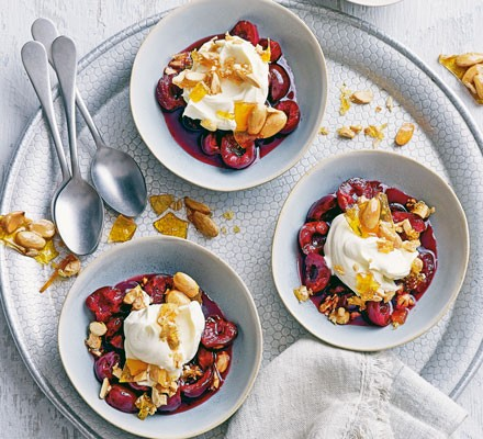 Cherry soup with whipped mascarpone & caramelised almonds