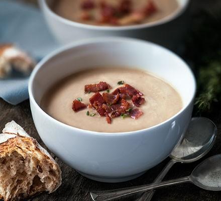Chestnut, bacon & parsnip soup