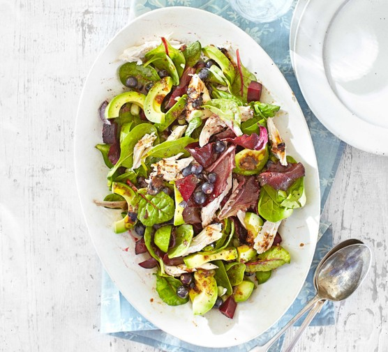 Chicken & avocado salad with blueberry balsamic dressing