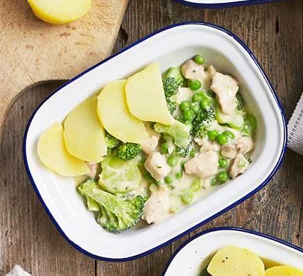 A casserole dish serving chicken & broccoli potato-topped pie