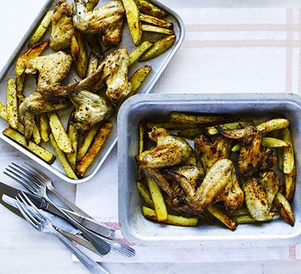 Spicy oven-baked chicken & chips