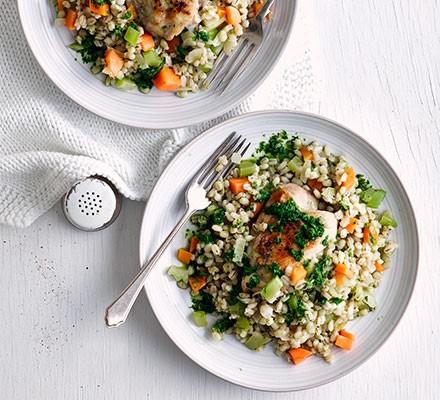 Chicken & pearl barley risotto